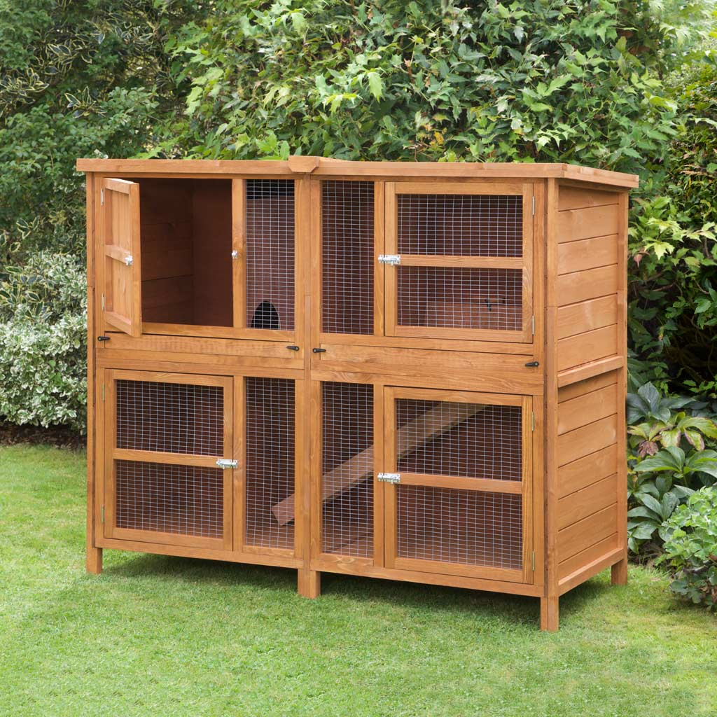 Home roost great 5ft chartwell double rabbit hutch fox for What is a rabbit hutch