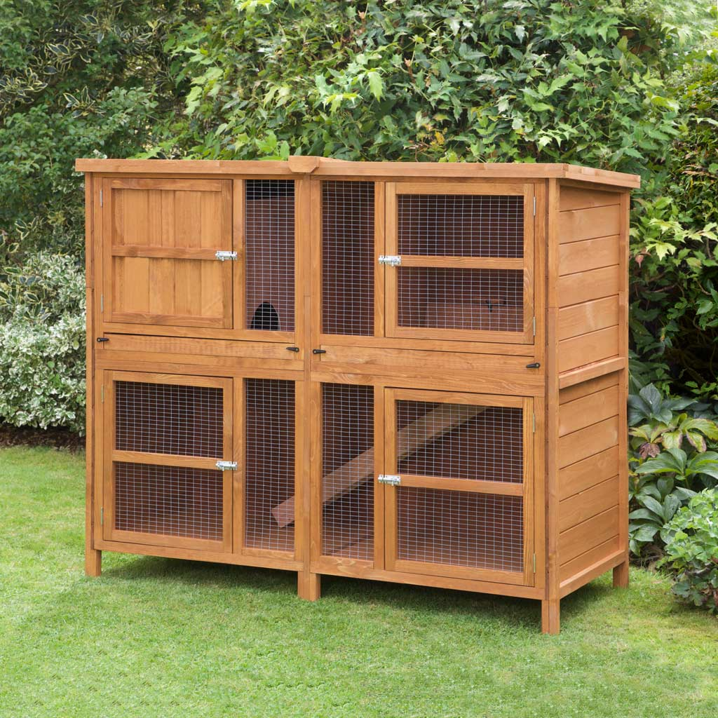 Home roost great 5ft chartwell double rabbit hutch fox for 5 foot rabbit hutch