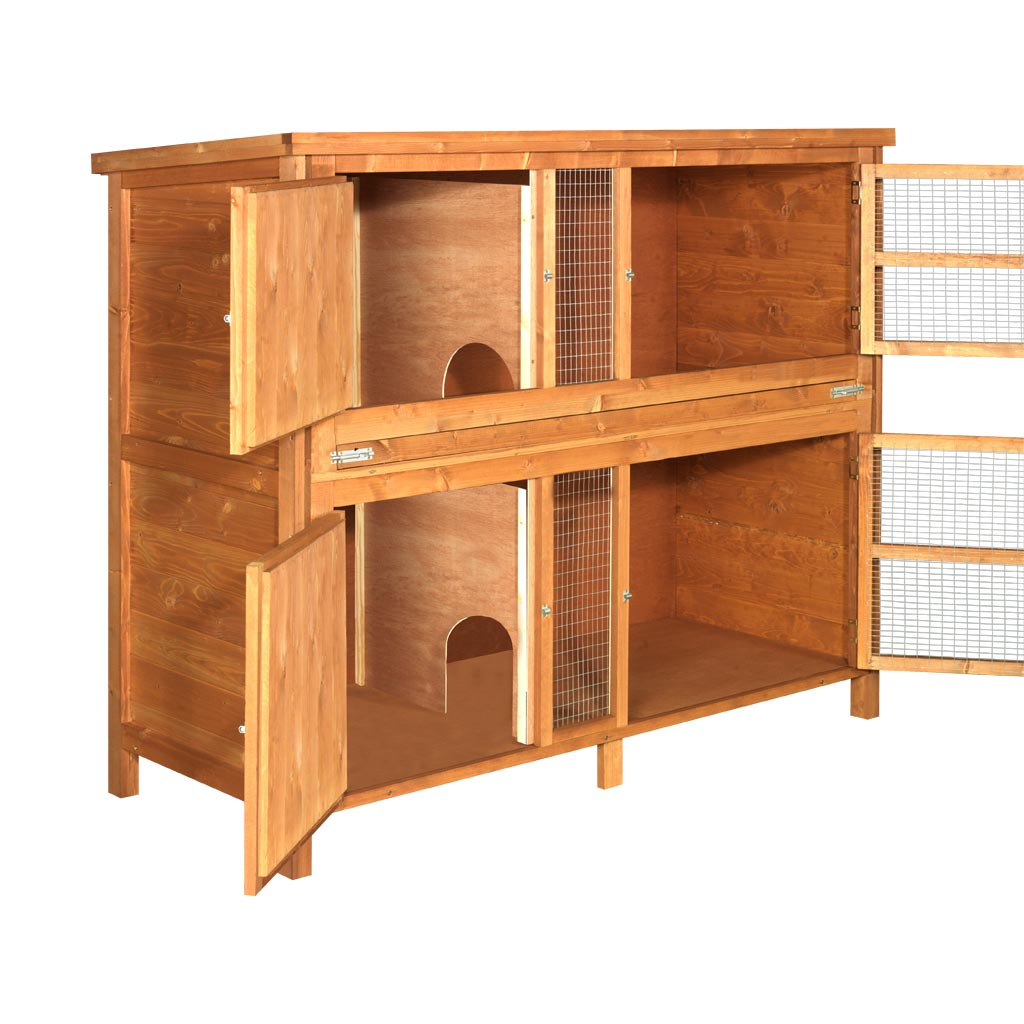 Home roost wooden 4ft chartwell 2 tier rabbit hutch for 2 rabbit hutch
